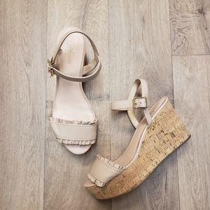 Kate Spade Tomas Ruffle Nude Wedge Sandals Sz 8.5